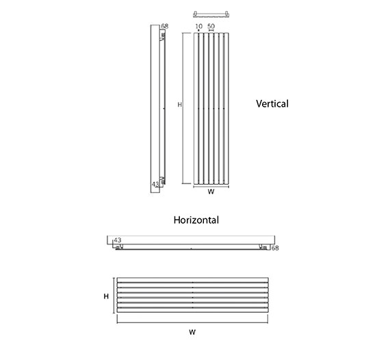 Image 2 of DQ Heating Delta 230 x 1600mm Brushed Stainless Steel Vertical Radiator