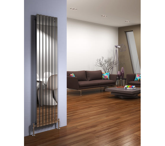 Image 4 of DQ Heating Delta 230 x 1600mm Brushed Stainless Steel Vertical Radiator