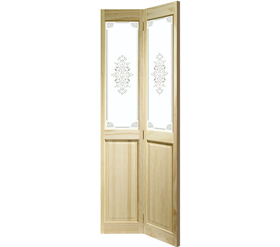 XL Internal Victorian Bi-Fold With Campion Glass Clear Pine Door Image