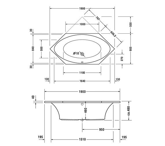 Image 2 of Duravit 2 x 3 Hexagonal Bath Tub 1900 x 900mm - 700025000000000