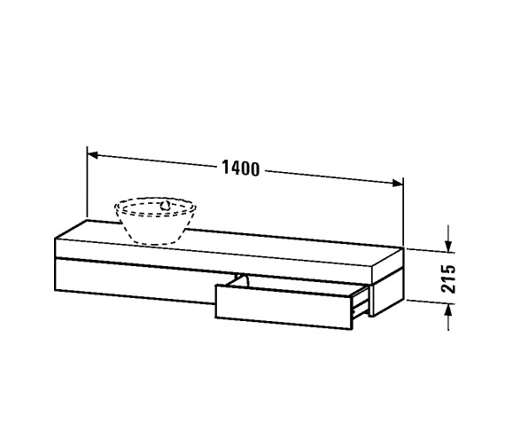 Image 2 of Duravit Fogo Console With Drawer 360 x 1400mm For Washbowl - FO838302424