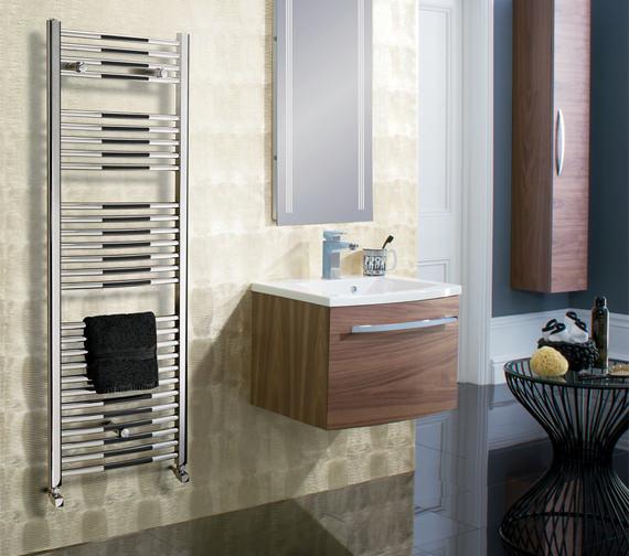 Image 2 of Bauhaus Stream 500 x 1430mm Curved Towel Warmer Chrome - ST50X143C