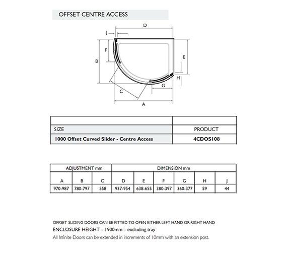 Image 2 of Infinite 1000 x 810mm Left Handed Curved Center Access Slider Door