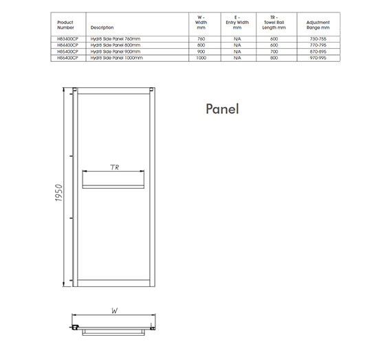 Image 2 of Twyford Hydr8 Shower Enclosure Side Panel 700mm - H82400CP