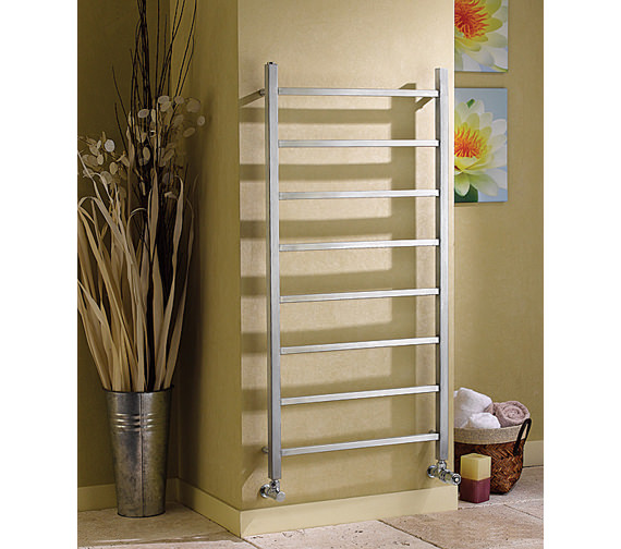 Image 4 of Apollo Genova Brushed Stainless Steel Towel Rail 600 x 1200mm