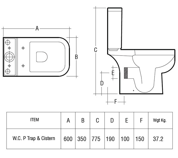 Image 2 of RAK Series 600 Close Coupled WC Pack With Standard Seat 600mm