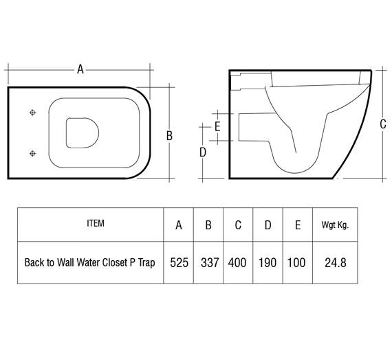 Image 2 of RAK Metropolitan Back To Wall WC Pan With Soft-Close Seat 525mm