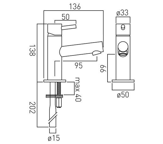 Image 2 of Vado Zoo Mini Mono Basin Mixer Tap - ZOO-100M-SB