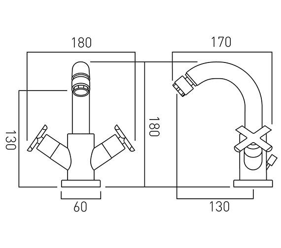 Image 2 of Vado Tonic Mono Bidet Mixer Tap With Pop-Up Waste - TON-110