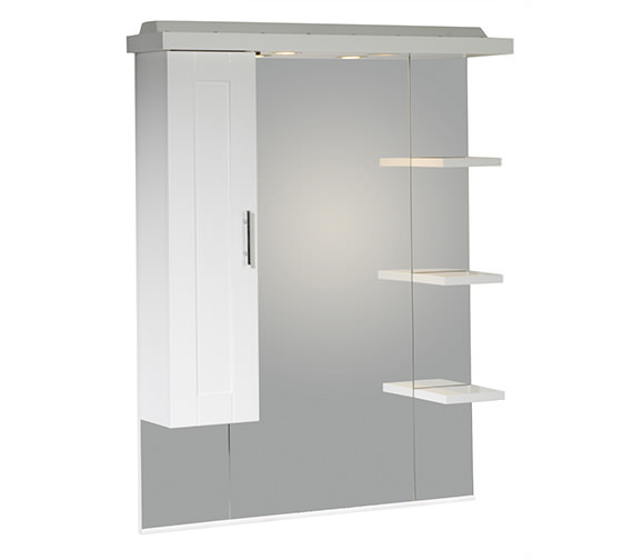 Roper Rhodes New England 800mm White Mirror With Canopy-Shelves-Cupboard Image