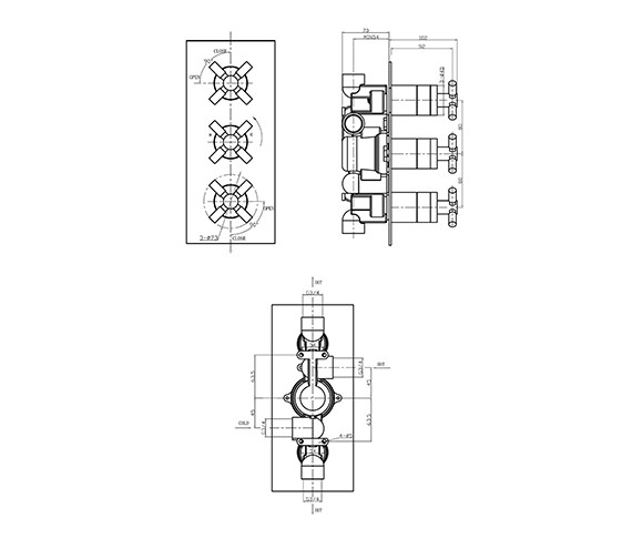 Image 2 of Crosswater Totti Thermostatic Shower Valve 3 Control Portrait