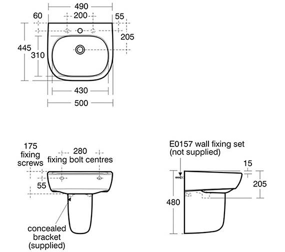 Image 2 of Ideal Standard Jasper Morrison 500mm Basin With Semi Pedestal