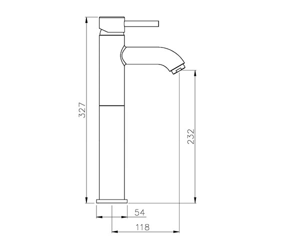 Image 2 of Abode Harmonie Tall Single Lever Basin Mixer Tap - AB1189