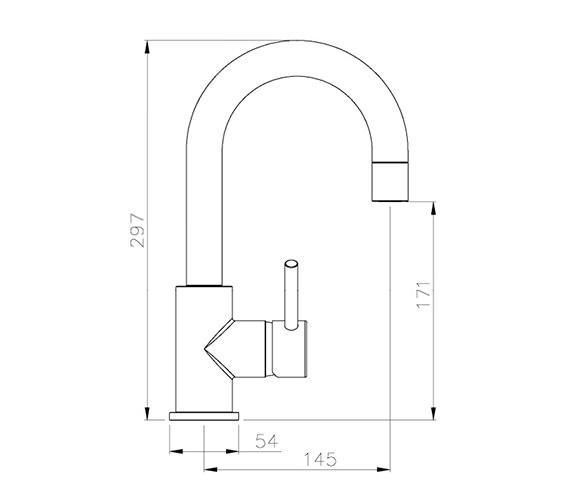 Image 2 of Abode Harmonie Swan Neck Single Lever Basin Mixer Tap - AB1191