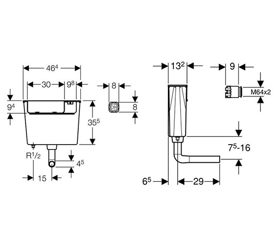 Image 2 of Geberit Pneumatic Operated Concealed Dual Flush Cistern - 109.720.00.1