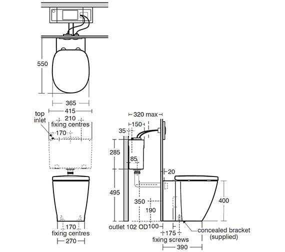 Image 2 of Ideal Standard Concept Back-To-Wall WC Pan 550mm - E791601