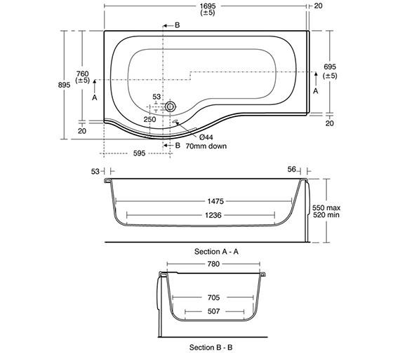 Image 2 of Ideal Standard Space Idealform Plus 1700 x 700mm Shower Bath