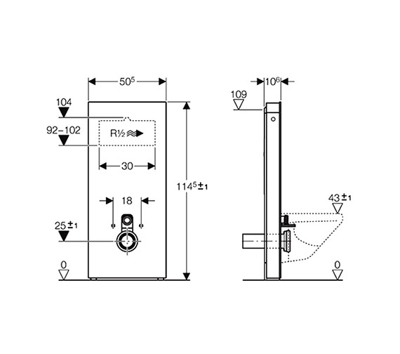 Image 2 of Geberit 114cm High Monolith Sanitary Module For Wall Hung WC - Umbra Glass