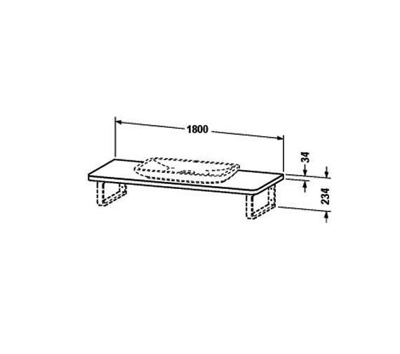 Image 2 of Duravit PuraVida Basin 700mm On Console 1800mm - PV070CZ8585