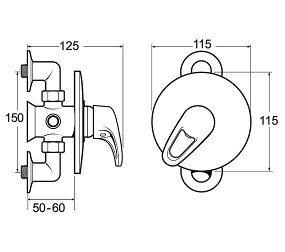 Image 2 of Deva Lace Exposed Or Concealed Manual Shower Valve - LACVMANM03