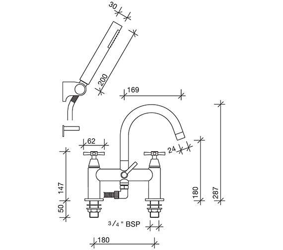 Image 2 of Twyford Rival 2 Hole Deck Mounted Bath Shower Mixer Tap - RL5265CP