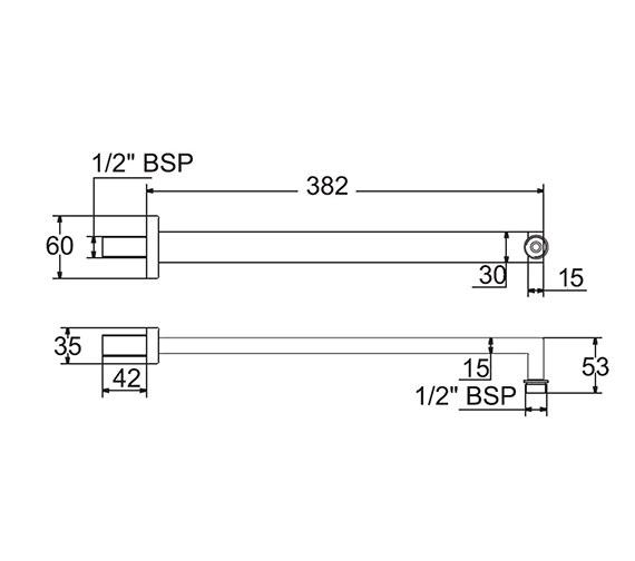 Image 2 of Deva Square Shower Arm - ARMW05