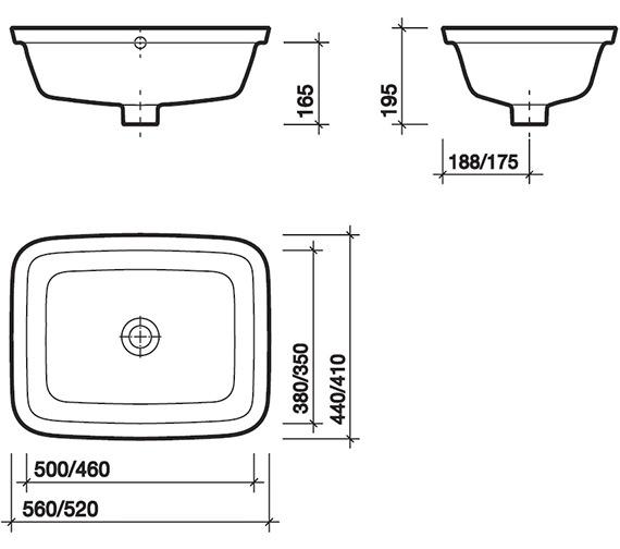 Image 2 of Twyford Moda Under Countertop Washbasin 460 x 410mm - MD4510WH