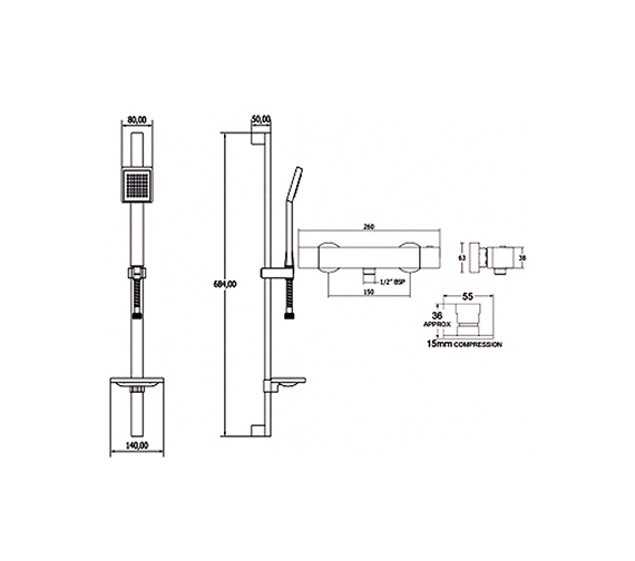 Image 2 of Deva Savvi Thermostatic Bar Shower Valve With Single Function Kit