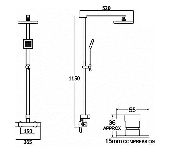 Image 2 of Deva Savvi Thermostatic Bar Shower With Rigid Riser Kit And Diverter