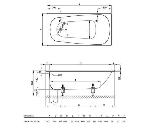 Image 2 of Bette Form Rectangular Steel Bath 1600mm x 700mm -  BETTE 1600