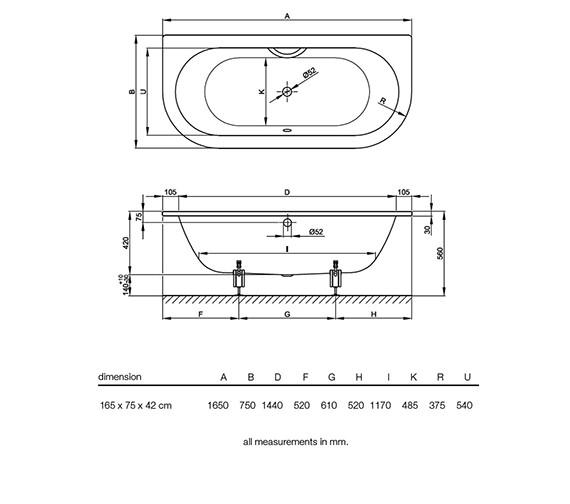 Image 2 of Bette Starlet 1 Super Steel Bath 1650 x 750mm - BETTE8300