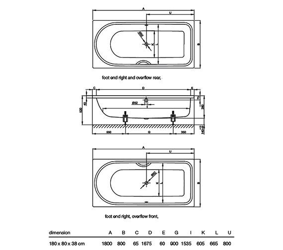 Image 2 of Bette Ocean Low Line Super Steel Bath 1800 x 800mm - BETTE8838