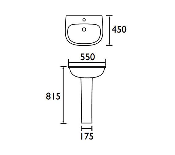 Image 2 of Bristan Jute 550mm 1 Tap hole Basin - SW JU BASIN 1H W