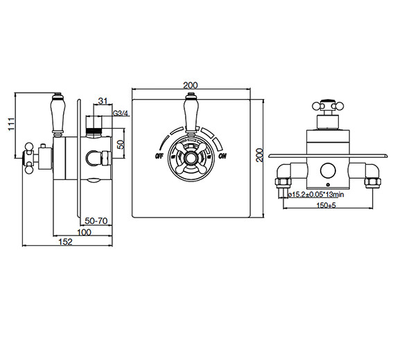 Image 2 of Mayfair Traditional Crosshead Thermostatic Shower Valve - TRA220