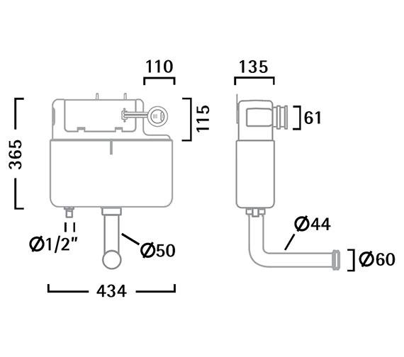 Image 2 of Tavistock Vortex White Slimline Concealed Cistern - VOR790