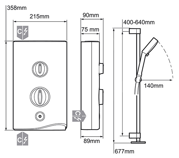 Image 2 of Mira Sport Electric Shower 10.8kW White And Chrome - 1.1746.004