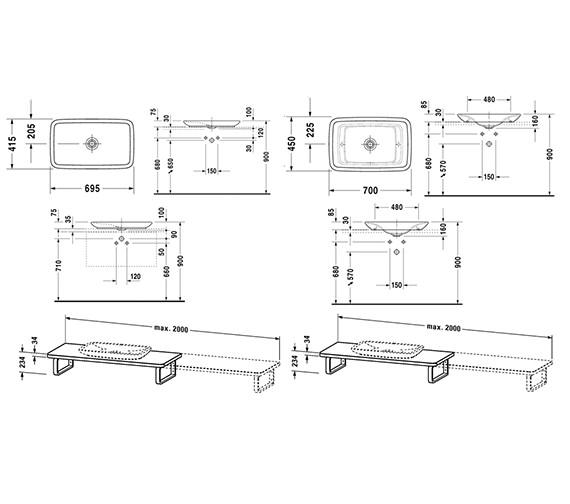 Image 2 of Duravit Puravida Basin 700mm on Console 800mm White - 037070 - PV 071C