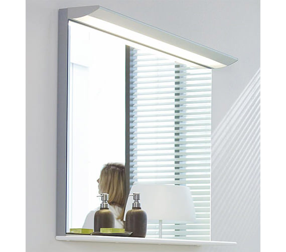 Image 3 of Duravit Darling New 1200 x 800mm Mirror With Lightning And Wooden Shelf