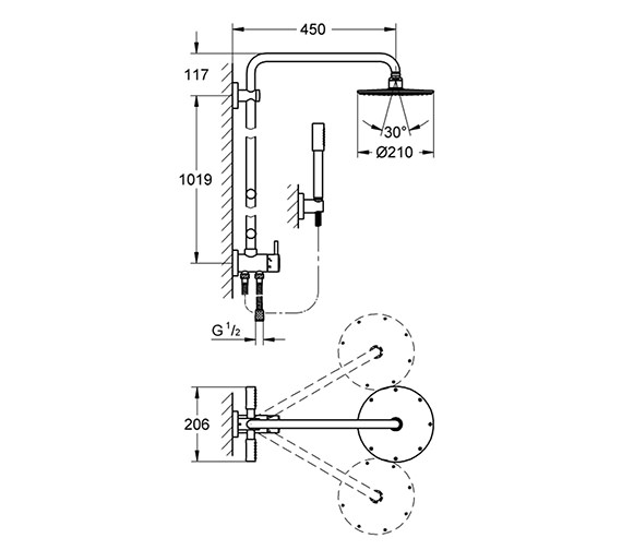 Image 2 of Grohe Rainshower Shower System With Diverter - 27361000