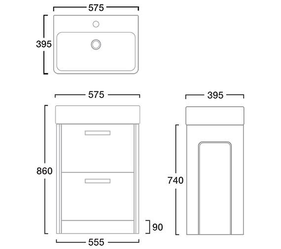 Image 2 of Tavistock Q60 575mm Graphite Freestanding Unit And Ceramic Basin